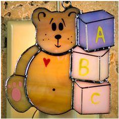 Teddy Bear Stained Glass Ornament/Nightlight