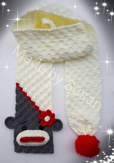 Ravelry: Funky Monkey Scarf pattern by Susan Wilkes-Baker Crochet Craft Fair, Crochet Kids Scarf, Crochet Winter, Crochet Scarves, Crochet For Kids, Crochet Yarn, Crochet Projects, Hand Crochet, Crochet Sock Monkeys
