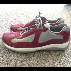 red and grey prada sneakers