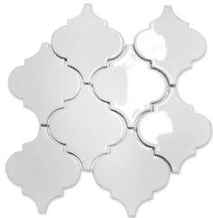 Large Gloss Finish Arabesque Whisper White Mesh Mosaic Tile Marble Mosaic, Mosaic Wall, Mosaic Tiles, Wall Tiles, Backsplash Tile, Large White Tiles, Retro Bathrooms, Small Bathroom, Bathroom Ideas