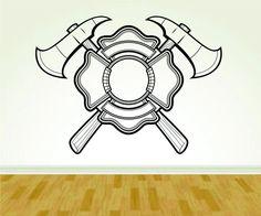 Firefighter Fireman Ax and Shield Logo Version 113 Decal Sticker