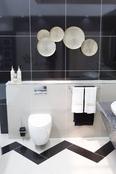 The classic black and white motif delivers an elegant bathroom and truly represents Luxe Living in your home. Add a striking pattern with contrasting colour to personalise your space. Your Space, Tiles, Colour, Black And White, Mirror, Bathroom, Elegant, Classic, Pattern