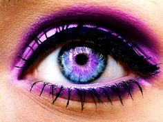 blue eyes faded into purple would love to have this eye color even though its impossible-----eyeshadow---purple on top lid and under---mascara---think mini winged eye liner around the top lid