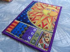 Quilted Postcard  Laurel Burch Postcard  Handmade  by Fiberartplus