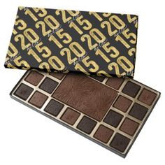 Gold Foil Simple Hello 2015 New Year Eve's Gift 45 Piece Assorted Chocolate Custom Box by fatfatin