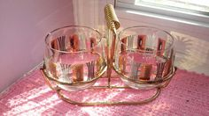 2 Vintage Mid Century Atomic Roly Poly Glass with Carrier