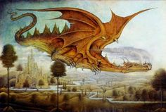 """Wayne Anderson Dragon Surveying Landscape From the book """"Dragons Truth, Myth and Legend."""" From the book """"Dragons Truth, Myth and Legend. Wayne Anderson, Chromatic Dragon, Dragons, Baumgarten, Dragon's Lair, Dragon Images, Dragon Art, Magical Creatures, Children's Book Illustration"""