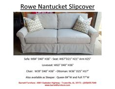 Rowe Nantucket Slipcover (2) Cushion Sofa. You Choose The Fabric