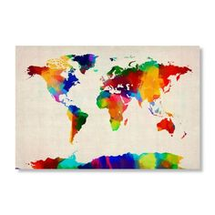 Find it at the Foundary - Sponge Painting World Map by Michael Tompsett.  Never seen anyone re-imagine maps.  Love them.