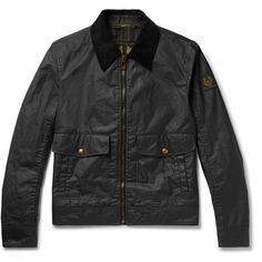 Belstaff Mentmore Slim-Fit Corduroy-Trimmed Waxed-Cotton Jacket ($595) ❤ liked on Polyvore featuring men's fashion, men's clothing, men's outerwear, men's jackets, belstaff mens jackets, mens patch jacket, mens short sleeve jacket, mens slim fit jackets and mens waxed cotton jacket