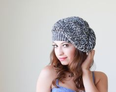 FREE Shipping Worldwide - Knit Slouch Hat for women hat in grey shades - Ready to ship - Women slouchy hat