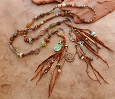 Desert Talismans - Desert Canyon Shaman Spirit Beads Lariat Necklace for Meditation, Spiritual Practice Jewelry Crafts, Handmade Jewelry, Jewelry Ideas, Jewelery, Jewelry Necklaces, Large Feathers, Bronze Ring, Gypsy Jewelry, Thing 1