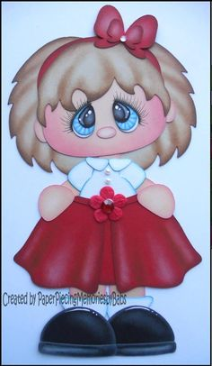 Premade Little Girl in Red Paper Piecing for Scrapbook Pages-By Babs Paper Punch Art, Paper Art, Paper Crafts, Family Photo Collages, Red Paper, Paper Piecing Patterns, Scrapbook Embellishments, Cute Dolls, Kids Cards