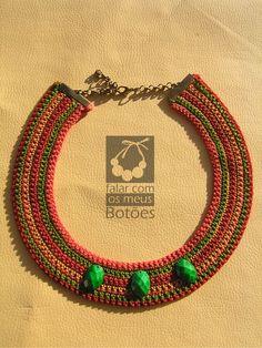 "Crochet necklace made by ""Falar com os meus botões""! Visit us on Facebook!"