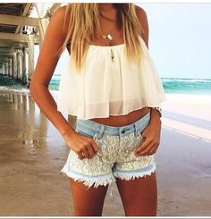 Lace shirts with a flowy crop top