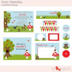 Woodland Essentials Package  Personalised Party Printables by RedCarouselShop, $22.00