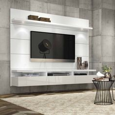 Manhattan Comfort Cabrini 1.8 Floating Wall Theater Entertainment Center for TVs up to 60 inch, Multiple Colors, White