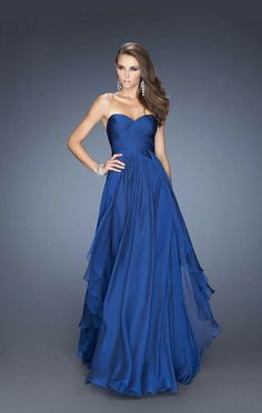 Royal Blue Floor-length A-line Sweetheart Dress With Layers -