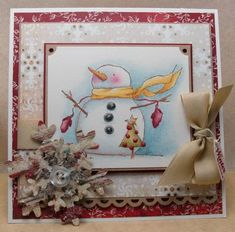 Frosty Winter WIshes by KatarinaM - Cards and Paper Crafts at Splitcoaststampers Merry Christmas To You, Christmas Cards To Make, Xmas Cards, Kids Christmas, Christmas Decorations, Snowman Cards, Cute Snowman, Snowmen, Tiny Tags