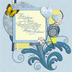 Faithbooking. The cornflower and soft blues in this kit are ideal for spring or winter scrapbook pages.