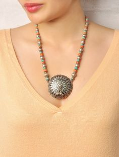 Chak Coral-Turq Silver Necklace