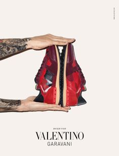This is advertisement created by Valentino as a way to rebrand their luxury marketing via a sneaker campaign.