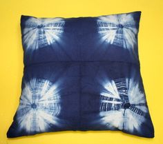 "16*16"" Indian Tie Dye Shibori Indigo Blue Square Cushion Cover Pillow Case Throw #Handmade #ArtsCraftsMissionStyle"