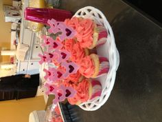 Pink cupcakes for baby shower