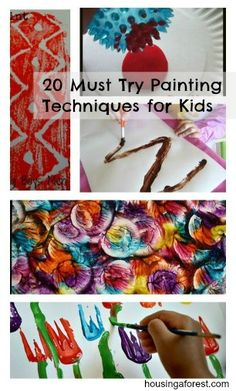 "Going to try many of these"" kids will love it and painting is great. 20 Must Try Painting Techniques for Kids ~ Lots of fun painting ideas. Perfect for an art party. Projects For Kids, Art Projects, Crafts For Kids, Arts And Crafts, Painting For Kids, Art For Kids, Crafty Kids, Preschool Art, Art Classroom"