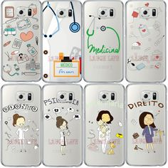 Phone Case for SAMSUNG S6 S7 Edge Note 4 5 S5 S4 Cases Nurse Doctor Women Career Cartoon Clear Ultra Thin Soft TPU Back Cover
