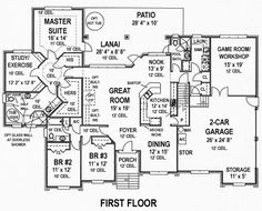 First Floor Plan of House Plan 53551