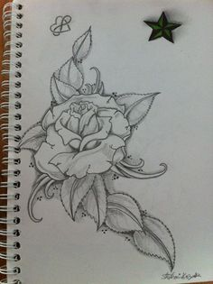 infinity heart five point star green rose shading sketch tattoos