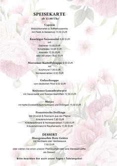Speisekarte Cafe Ingwersen | Frühstück, Tageskarte, Cafe Diner Food, Cafe Decoration, Goulash Soup, Potato Soup, Food Menu, Cards
