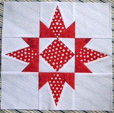 I offered to make a second block for Sabah this month since we're short one bee member.  This is a Florida Star, minus the HST's in the corners (I was afraid it would become too much of an eyesore!).