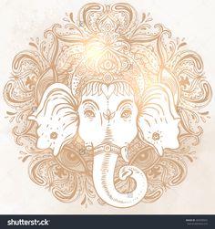 Hindu Lord Ganesha Over Ornate India Mandala. Vector Illustration Of Indian God Of Wealth. Hindu Motifs. Tattoo, Hindu, Om, Chakra, God, Ayurveda, Yoga, Textiles. Ganesha Gold Symbol. - 404590942 : Shutterstock