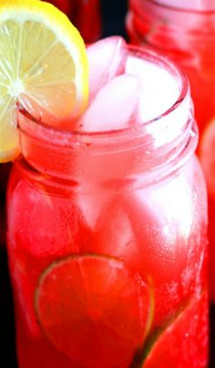 Cherry Berry Vodka Lemonade  2 ounces cherry vodka ½ ounce fresh lime juice 3 ounces pink lemonade 3 ounces strawberry puree