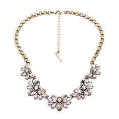 US $7.39 Hot Sales Vintage Clear Crystal Flower Brand Design Elegant Statement Necklace For Women Wholesale aliexpress.com
