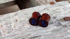 9.5mm Black Walnut burl ear plugs, Turquoise stone inlay, Hand crafted Organic 00 gauge wooden flesh plugs by MustLoveWoodPlugs on Etsy