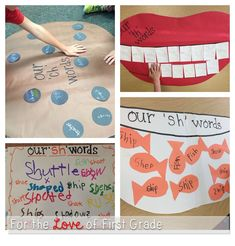 th, ch and sh words … using a giant pictorial as a clue to help learners with these sounds: Phonics Reading, Teaching Phonics, Kindergarten Literacy, Alphabet Activities, Early Literacy, Teaching Reading, Classroom Activities, Literacy Centers, Teaching Tools
