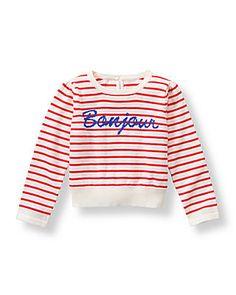 Vibrant Rose Stripe Striped Bonjour Sweater at JanieandJack