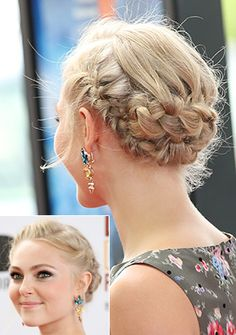 Anna Sophia Robb's braided updo for the girls