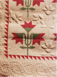 The Ogier Wedding Quilt detail, dated 1842. In the collections of The Guernsey Museums and Galleries (UK). love the quilting