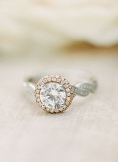 Round rose gold engagement ring with twist band — elegant and beautiful. Rose gold engagement r Timeless Engagement Ring, Vintage Inspired Engagement Rings, Split Shank Engagement Rings, Engagement Ring Styles, Rose Gold Engagement Ring, Solitaire Engagement, Engagement Pics, Bridal Rings, Wedding Rings