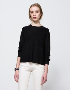 A lightweight knit sweater from Stelen in black with classic styling.  Features crew neckline, ribbed neckline, full length sleeves, ribbed cuffs, straight hem and relaxed fit.  •Lightweight knit sweater in black •Crew neckline •Ribbed neckline and