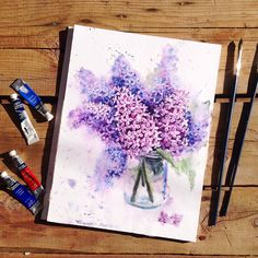 Watercolor lilac in a pot on Behance