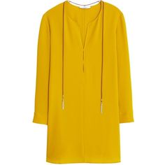 Mango Textured Long Sleeve Dress, Yellow (3,545 PHP) ❤ liked on Polyvore featuring dresses, long sleeve maxi dress, yellow dress, mini dress, vintage dresses and long-sleeve mini dress
