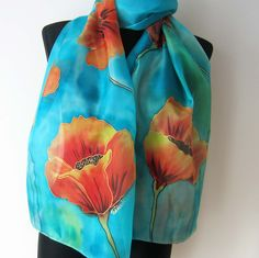 Poppies scarf. Hand painted silk scarf. Red and orange poppies scarf. Blue background. Art scarf. https://www.etsy.com/listing/265771898/poppies-scarf-hand-painted-silk-scarf?ref=shop_home_active_1