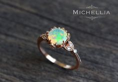 Vintage Opal Floral Engagement Ring with Diamond, Solid Gold Ethiopian Fire Opal Ring Set, Opal Promise Ring, Rose Gold Yellow White Gold