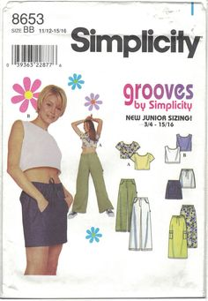 Simplicity Ladies Wide Leg Pants/Shorts & Shirt Pattern 8653 Uncut, Sizes for sale online Modern Sewing Patterns, Simplicity Sewing Patterns, Craft Patterns, Vintage Patterns, Clothing Patterns, Sewing Ideas, Vintage Outfits, Vintage Fashion, Vintage Clothing