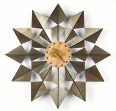 George Nelson and Associates; #2226 Brass and Walnut  'Flock of Butterflies' Wall Clock for Herman Miller, c1955.